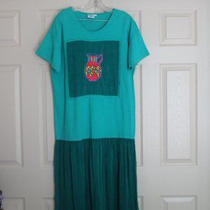 VTG 90s Johnny Was Women's Embroidered Green Jug T